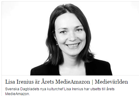 Lisa Irenius årets medieamazon2014