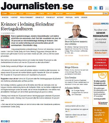 Kvinnor i ledning förändrar företagskulturen - artikel journalisten.se